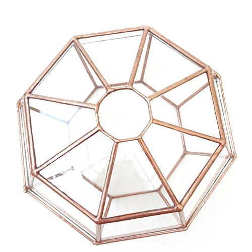 Terrarium octogonal/pot de fleurs en verre géométrique moderne fait à la main en Angleterre (petit et cuivre)