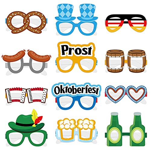 Oktoberfest Paper Glasses Beer Eyeglasses Funny Photo Booth Props for Kids Costumes Dress-up Party Favors Accessories…