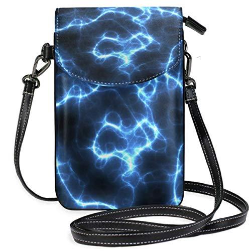 Electricidad azul brillo teléfono celular monedero monedero para mujeres niña pequeño Crossbody...