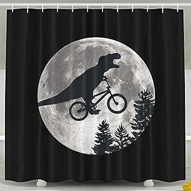 Dinosaur Bike And MOON Shower Curtain Fabric Bathroom Shower Curtain Set,72x60 Inch