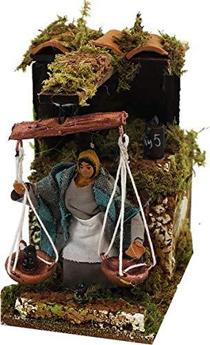 Joy Christmas Pastore per Presepe in Movimento 14 cm x 9 cm Donna con Bilancia 43122