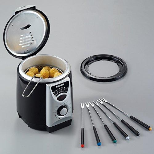 Severin FR 2408 Mini-Fritteuse mit Fondue, schwarz-silber / Behälter 950 ml Inhalt / Frittiermenge 200 g / 840 W - 5