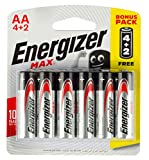 Energizer Max Alkaline AA Batteries - Pack of 6