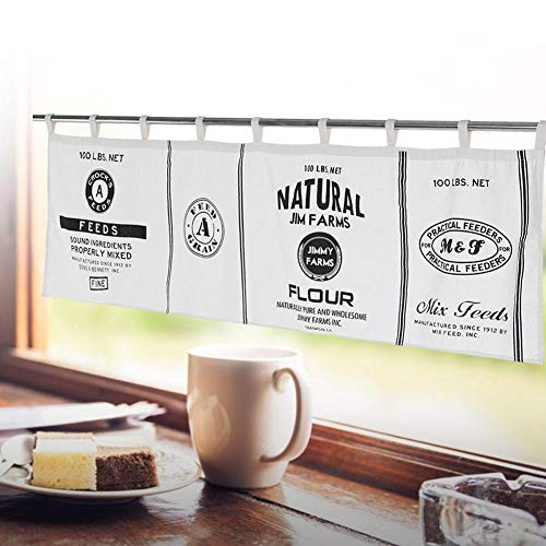 MAVIS LAVEN Cortinas De La Ventana De La Cenefa para La Cocina, Algodón Lien Durable Vintage Media Cortina Drapeado Panel Blackout para El Gabinete De La Cocina Cafetería, Etc.