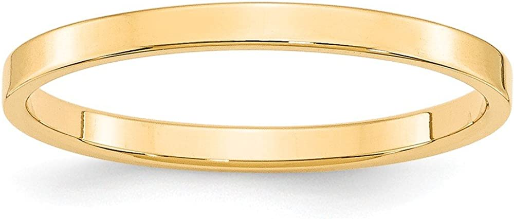 Solid 14k Yellow Gold 2mm Flat Wedding Band