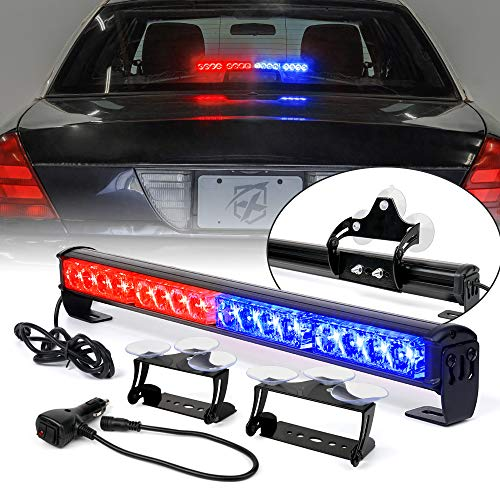 [Upgraded] Xprite 18 LED Strobe Traffic Advisor Flashing Light Bar, Front Bumper Grille Warning Emergency Police Lightbar, w/ Suction Cup Mount for Volunteer Cop Vehicles Trucks SUV ATV - Red Blue