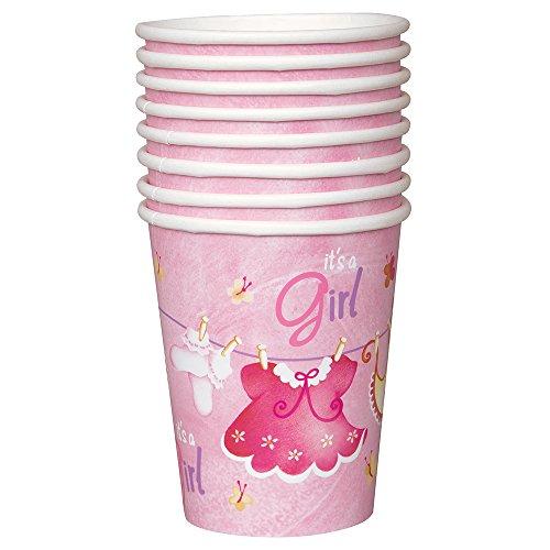 Partido Ênico 9 oz Tendedero Baby Shower Copas de papel (paquete de 8, rosa)