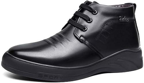 DZX Calzado De Cuero para Hombre Stiefel Calientes Antideslizantes De Invierno Botines Stiefel Cálidas De Invierno para Caminar Y Deportes Al Aire Libre,44