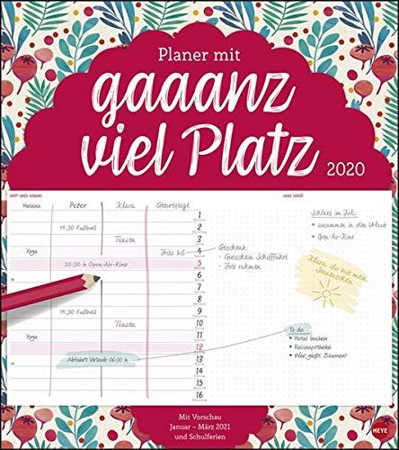 Planer mit gaaanz viel Platz Blumen. Wandkalender 2020. Monatskalendarium. Spiralbindung. Format 40 x 45 cm