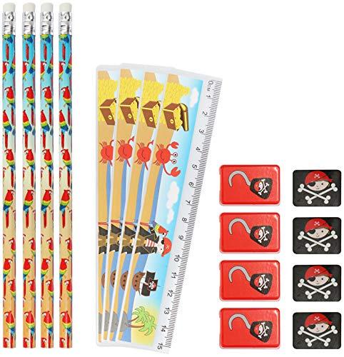 com-four® 4X Schreibset Kinder - Schulschreibset mit Bleistift, Lineal, Anspitzer und Radiergummi - Schreibset Pirat für Jungs (16-teilig - Pirat)