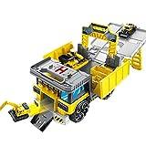 shifengzhou Transforming Construction Truck Car Toy Set con Miniexcavadora - Deformation Construction Truck Parking Lot Race Track - Durable Garage Playset para Niños, Niños, Niños Pequeños