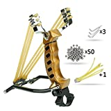 Wisdoman Outdoor Athletics Slingshot Kit, Adjustable Stainless Professional Hunting Catapult High Powerful Slingshots Rubber Bands and 50 Steel Balls (Gold2)
