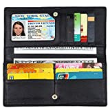 Lavemi RFID Blocking Ultra Slim Real Leather Credit Card Holder Clutch Wallets for Women(Black1)