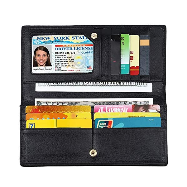 Lavemi RFID Blocking Ultra Slim Real Leather Credit Card Holder Clutch Wallets for Women 1