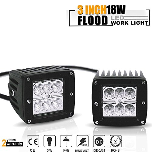 3X3 Inch 18W LED Flood Pods Cube Offroad Fog Lights Auxillary Reverse Backup Lights On Rack Bumper Grill Windshield For Polaris Jeep Wrangler Truck Rzr Utv Motor Suv Ram Klr Tundra Ford F150 Tractor