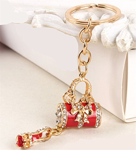 Flower Drum with High Heels Shoe Keychain Key Ring Key Chain Cinderella Charms Women Car Trinket Female's Gift Key Ring Key Holder Key fob Bag Fashion Accessories (Red)