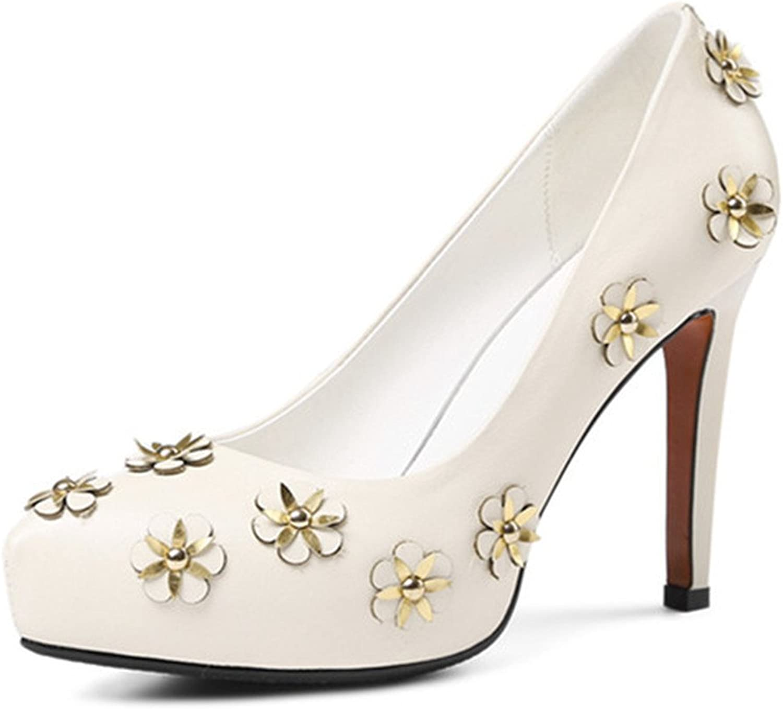Nio Nio Nio Sju genuina läder Kvinnors spetsiga tå Stiletto Heel Applique Platform Handgjorda Sexiga Pumpar  stort urval