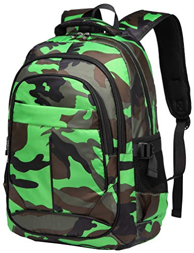 BLUEFAIRY Boys School Backpacks For Girls Kids Elementary School Bags Bookbag (Camo Green)