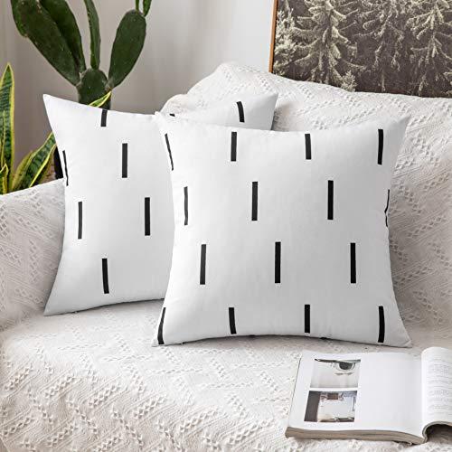 MIULEE 2 Unidades Fundas de cojín para sofá Almohada Caso de Diseño Compuesto de Rayas Cortas Cómodo Decoración para Habitacion Juvenil Sofá Comedor Cama Dormitorio Oficina 45x45cm Blanco