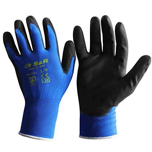 S&R Schutzhandschuhe, 12 Paar, Arbeitshandschuhe mit Drive-Griff® aus Polyesterfaser mit Polyurethanbeschichtung, Gr. L/9, geeignet für den privaten und gewerblichen Gebrauch