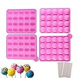Silikon Cake Pop Backform / 2 Packungen für 40er Pop-Cakes mit 240 Stiele - Runde Lollipop Formen für Brownies Pies Bonbons Schokolade, BPA-frei, Rosa