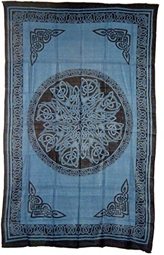 Hippie/Indian Tapestry/Wall/Bedspread/Tablecloth Blue Celtic Knot Mandala 72'x 108'