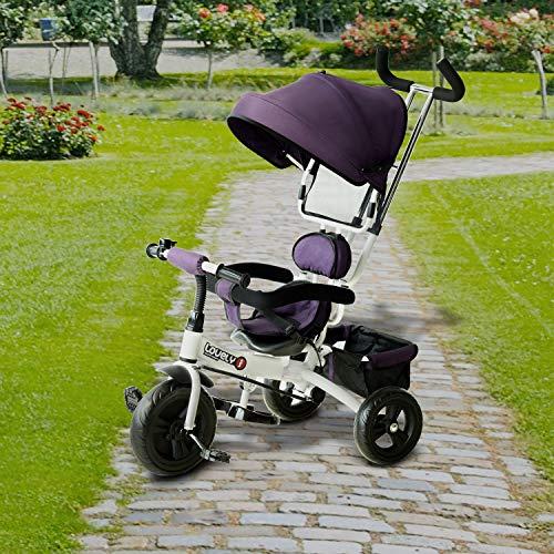 Homcom Tricycle Enfant évolutif Pare-Soleil Pliable Canne télescopique Amovible 92 x 51 x 110 cm Acier Violet Blanc et Noir