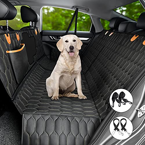 4-in-1 Dog Car Seat Cover, OKMEE Convertible Dog Hammock Scratchproof Pet Car Seat Cover with Mesh Window 2 Seat Belts , Durable...