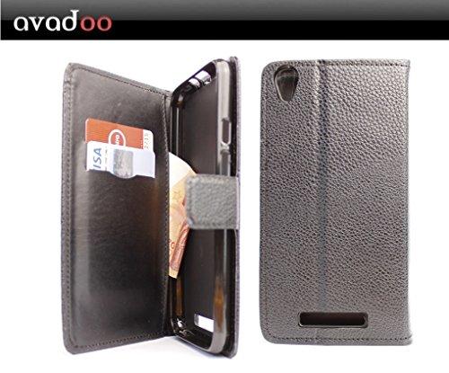 avadoo® Archos Core 55 4G Flip Hülle Cover Tasche Schwarz mit Magnetverschluss & Dualnaht als Cover Tasche Hülle