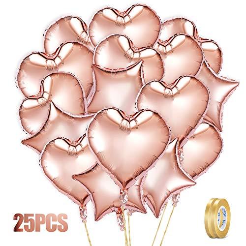 Crislove Globos de Oro Rosa de 25 Piezas,18 Pulgadas Corazón & Estrella Globos de Papel Aluminio y 2 Extra Cinta de Oro , para Fiestas de Cumpleaños, Decoraciones de Bodas (45 * 45 cm)