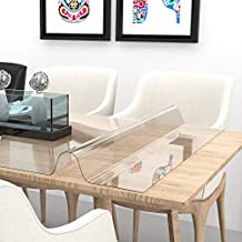 ETECHMART 24 x 48 Inch Clear PVC Table Cover Protector, 1.5mm Thick Custom Plastic Desk Pad , Waterproof Vinyl Table Top Protector Mat for Coffee Table, Dining Table, Writing Desk