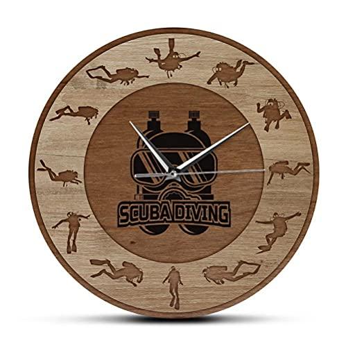 30 cm Reloj de Pared Reloj de Pared Impreso con Textura de Madera y Arte subacuático para Buceo, Deportes subacuáticos, decoración del hogar, Reloj de Cuarzo silencioso, Regalo de Buceo