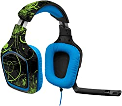 MightySkins Skin Compatible with Logitech G430 Gaming Headset - Green Distortion | Protective, Durable, and Unique Vinyl Decal wrap Cover | Easy to Apply, Remove, and Change Styles | Made in The USA