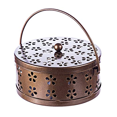 ALLESOK Mosquito Coil Halter Räucherspiralen Halter Klassischer Metall-Räucherstäbchenhalter, Bronze