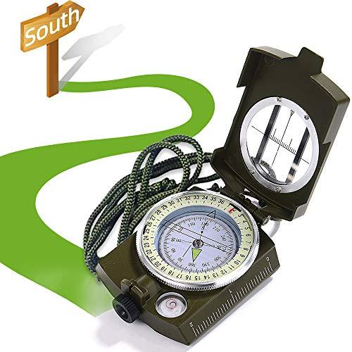 XCOZU Kompass, Kompass Outdoor Professioneller Navigation Kompass Kaufen Compass mit Fluoreszierendem Design, Militär Marschkompass Peilkompass für Camping Jagd Wandern, Wasserfest Stoßfest(Grün)