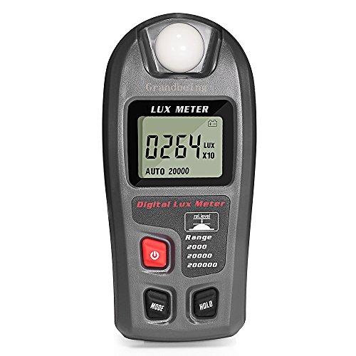 Medidor Iluminación Fotómetro Digital, Luxómetro Portátil con Unidades Conmutables (Lux & Fc) y Modos de Medición (Normal, Media, Máxima), Rango de Medición 0.1 - 200000 Lux y 0.01 - 20000 Fc