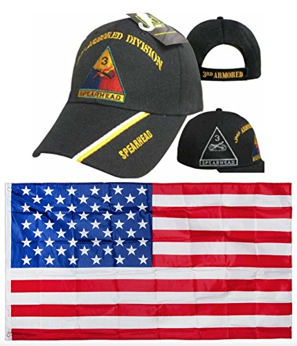 MWS U.S. Army 3rd Armored Division Spearhead Black Shadow Embroidered Hat Cap & USA Flag 3x5 Super Polyester Nylon Flag 3'x5' House Banner Grommets Double Stitched Premium Quality