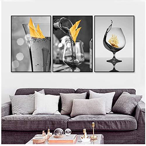 QIAOB Arte en Lienzo, Copa de Vino Negra Moderna con Barco, Arte de Pared, Pintura en Lienzo, imágenes, Carteles e Impresiones, galería, Comedor, sin Marco