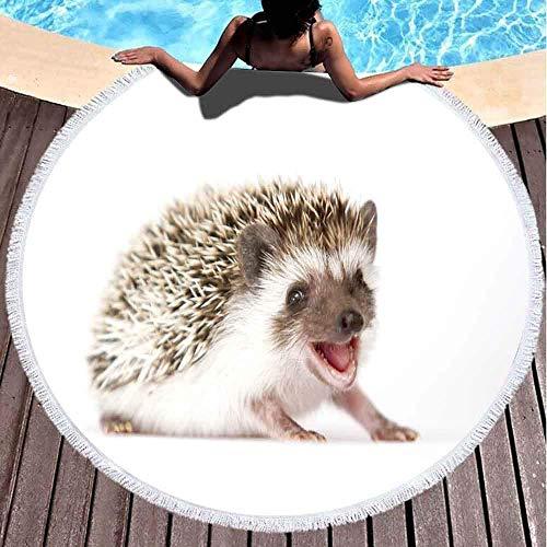 Toalla de playa redonda para niña, toalla de playa grande, linda divertida joven roedor erizo fondo de bebé de 156 x 152 cm, divertida toalla de playa para niños, mujeres y niños