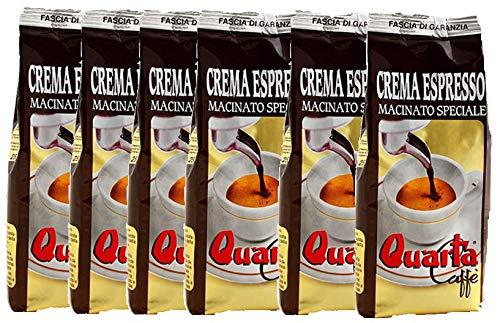 Caffè Quarta Crema Espresso macinato speciale. N. 6 confezioni da 250 g. Caffè italiano pugliese salentino prodotto e confezionato in Salento. Original Italian coffee made in Salento Apulia.