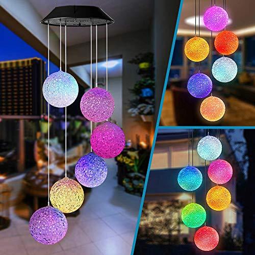 Carillón Campanas de Viento energía Solar LED Wind Chimes con Cambio de Color Spinner Ball lámpara para Exterior jardín/Patio Iluminación Decoración Navidad cumpleaños Regalo para niña Mamá