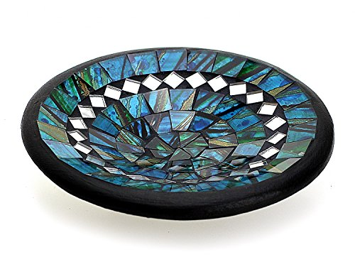 TEMPELWELT Mosaikschale Tonschale rund Ø 15 cm aus Ton mit Glasmosaik blau grün türkis, Dekoschale Mosaikstein belegt, Mosaik Stein Schale Dekoteller Teller