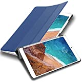 Cadorabo Funda Tableta para Xiaomi Mi Pad 4 Plus (10.1' Zoll) in Azul Oscuro Jersey – Cubierta Proteccíon Bien Fina en Cuero Artificial en Estilo Libro con Auto Wake Up e Función de Suporte