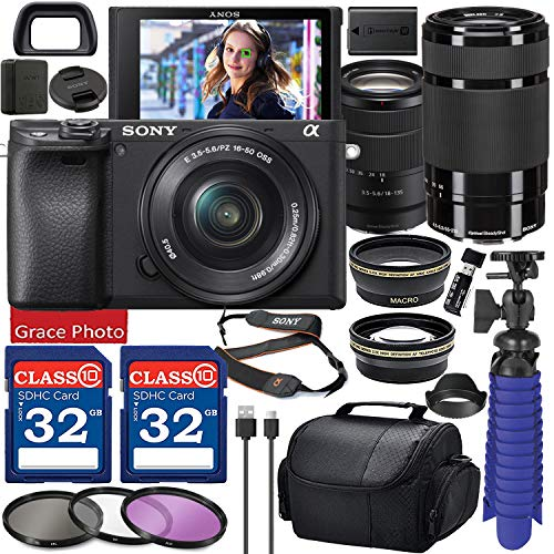 Sony Alpha a6400 Mirrorless Digital Camera with 18-135mm Lens (Black ILCE-6400M/B) & 55-210mm Lens Bundle with Accessory Package Including 64GB Memory, Spider Vlog Tripod & More (21 Pieces)