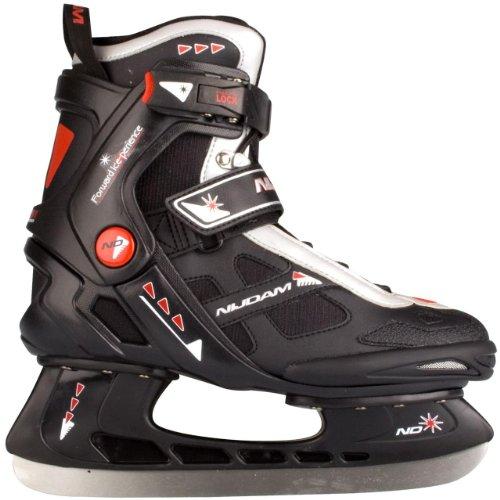 Nijdam Erwachsene Eishockeyschlittschuhe Icehockey Skate, Mehrfarbig (Schwarz/Silber/Rot), 46