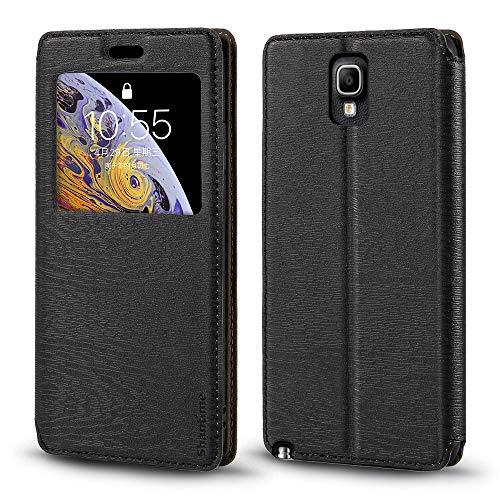 Schutzhülle für Samsung Galaxy Note 3 Neo LTE+ N7505, luxuriös, Holzmaserung, Leder, Kartenfach, Sichtfenster, schwarz