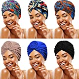 6 Piezas Sombreros Turbante Anudado de Mujer Gorro Envoltura de Cabeza de Modelo Africano Gorro...