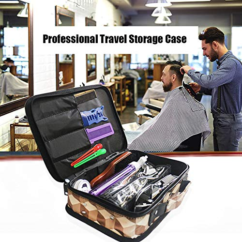 WANGXN Barber Carrying Case, Stylist Tool Storage Bag for Clippers Scissor Clips Trimmer Grooming Kit, Hair Styling Accessories Organizer, Portable Travel Professional Hair Salon Equipment