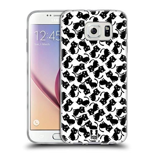 Head Case Designs Pattern Nero Stampe di Gatti 2 Cover in Morbido Gel Compatibile con Samsung Galaxy S6