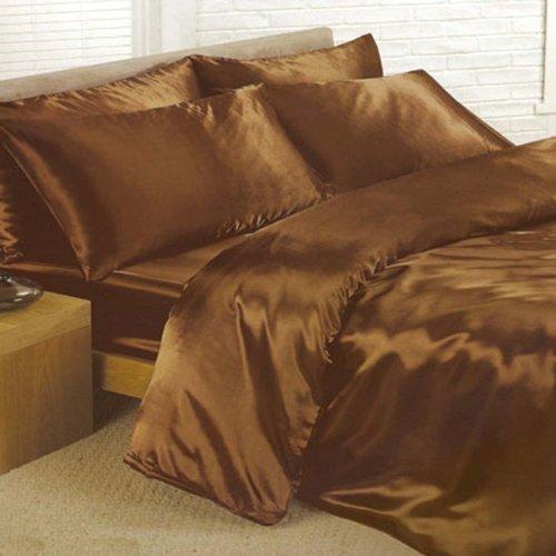 SATINE Parure de Lit Marron Chocolat 1 Personne pour lit 90x190 cm - Housse de Couette Drap Housse Taies